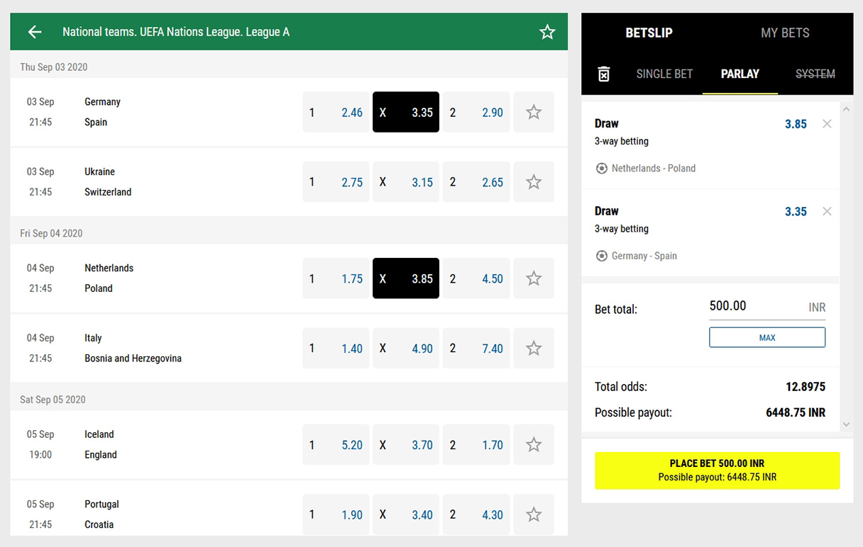 Football betting at PariMatch site.