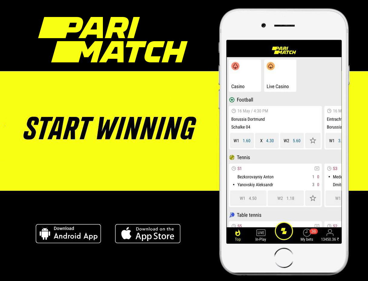 Live betting in PariMatch mobile app.