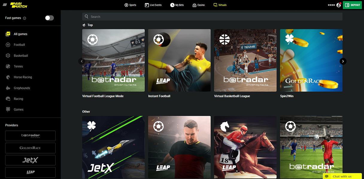 Virtual sports on PariMatch.